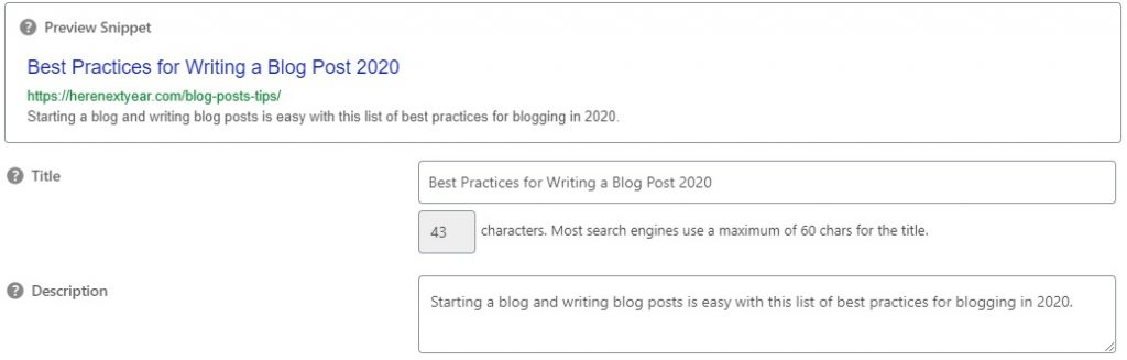 Blog SEO title and meta description to show blogging SEO components in a blog post.
