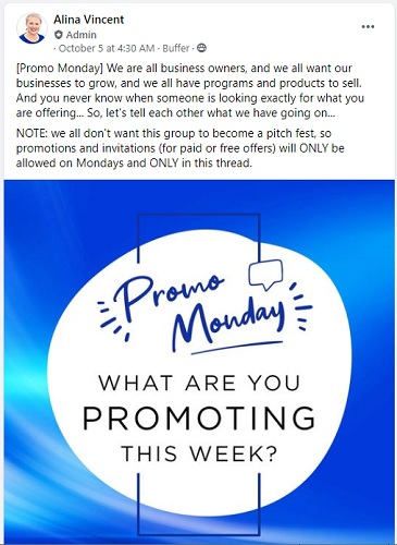 Example of a Facebook group you can join to promote your blog posts every Monday.