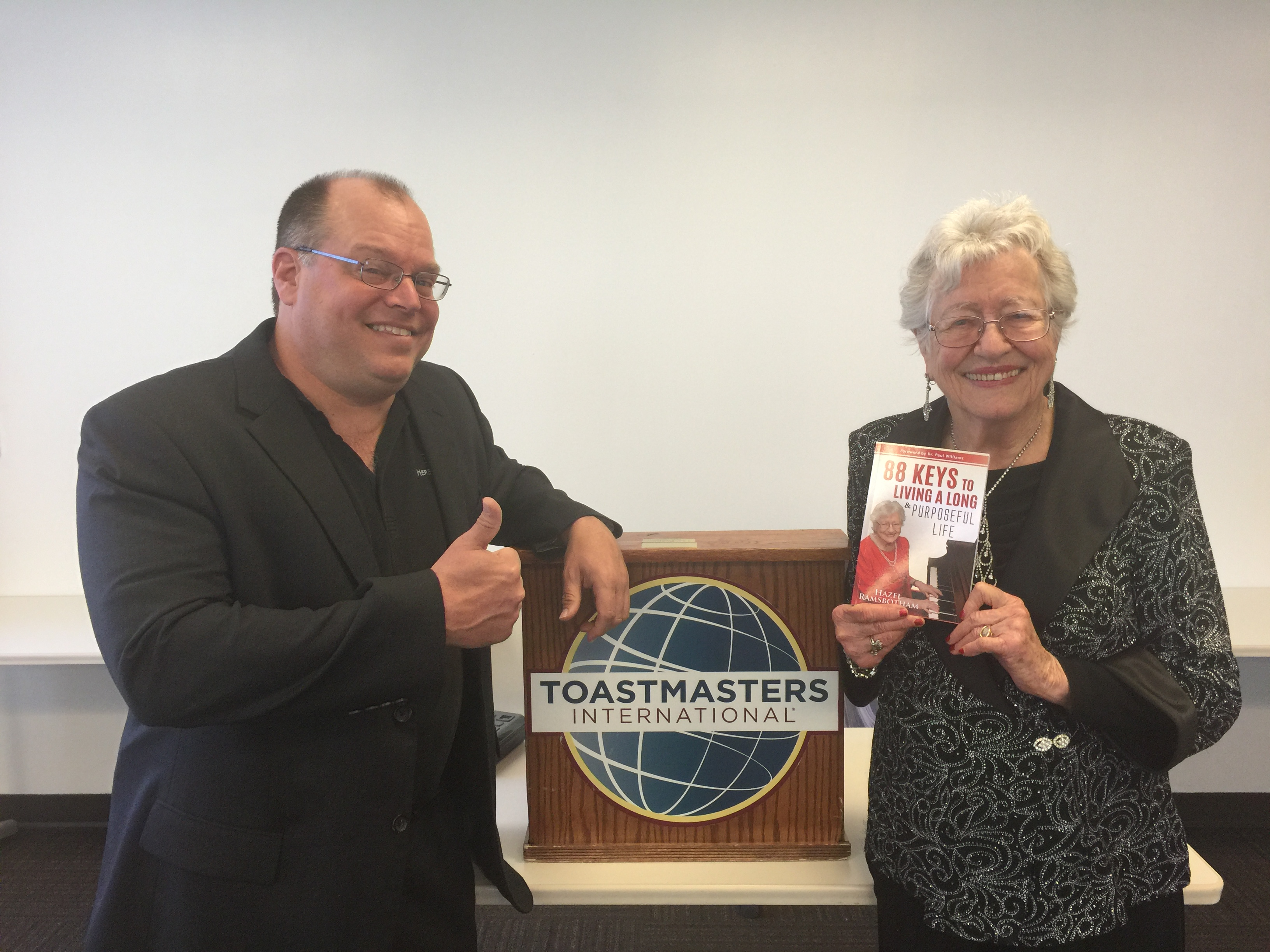 Marty Dickinson with speaker and author of the book, 88 Keys to Living a Long and Purposeful Life, Hazel Ramsbotham