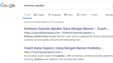 Dana Morgan-Barns professional speaker search SEO results as part of internet marketing services