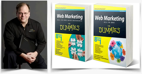 Photo of Marty Dickinson in Here Next Year shirt along side both Web Marketing All-in-One for Dummies (Wiley) book covers