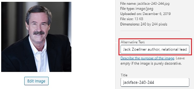 Image showing display field for alternative text and alt text for SEO for photos