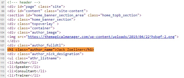 Image showing view source HTML of how an H1 Headline tag looks
