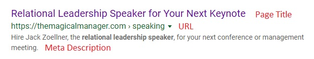 Display of Page Title, URL, and Meta Description to describe SEO component for professional speaker speaking page