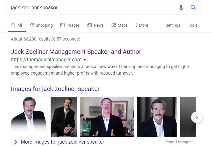 Speaker SEO case study showing top search position for speaker name + speaking