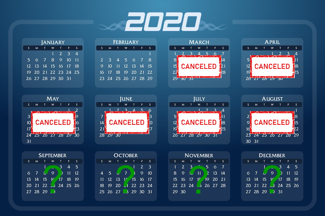 Public speaking calendar showing cancelled months due to Coronavirus which has cause events to cancel for professional speakers.