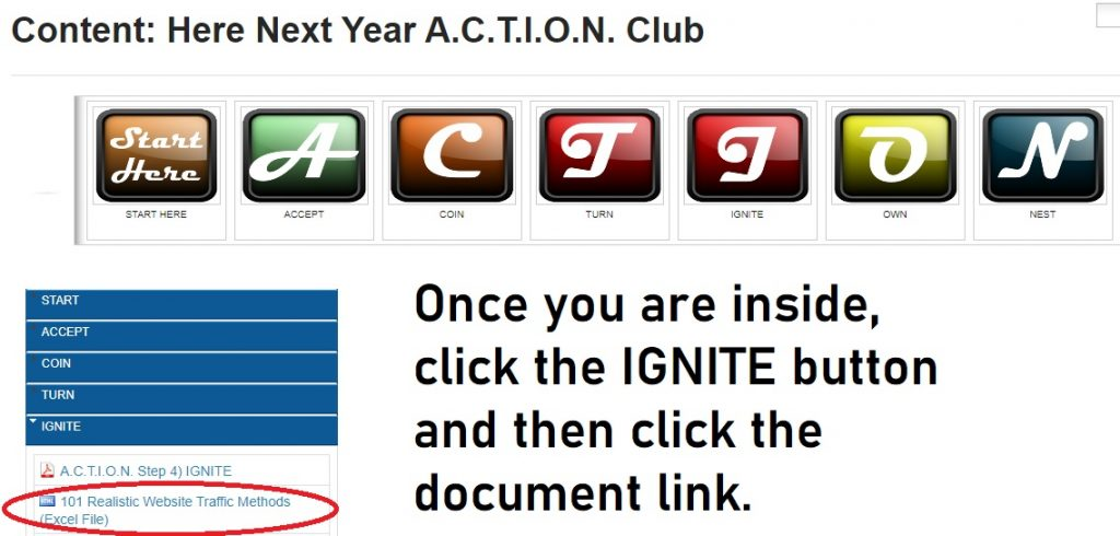 Screen shot of where to find the 101 Realistic Website Traffic Methods document once you join the lifetime free A.C.T.I.O.N. Club