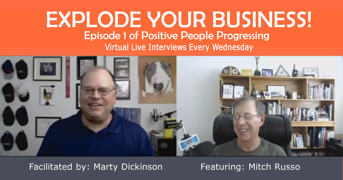 Positive People Progressing banner showing 1st guest speaker Mitch Russo
