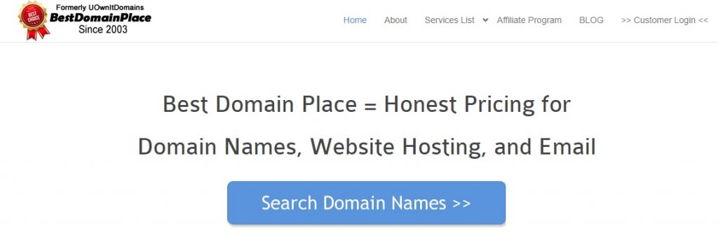 Screenshot of the website where I promote domain name registration as a domain name reseller