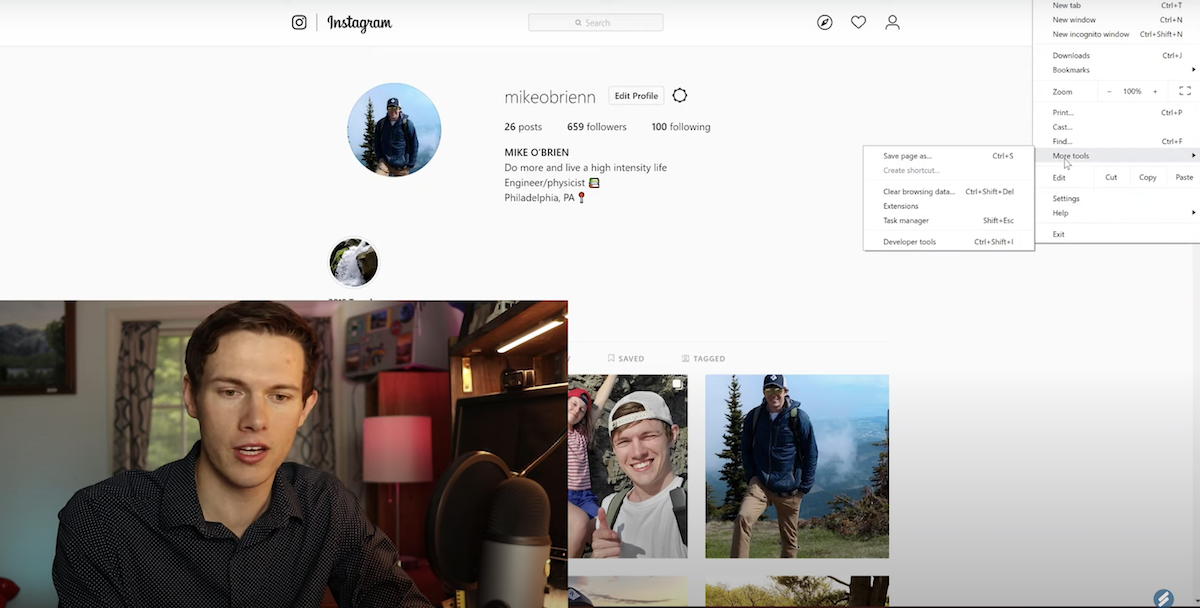 Screen shot of demonstration video for posting to Instagram from PC or MAC computer using Chrome browser.