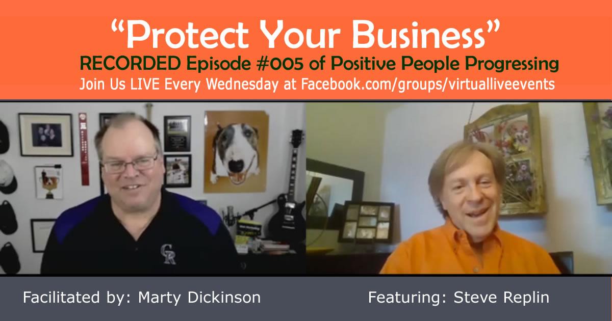 Marty Dickinson interviewing attorney Steve Replin about legal protection, getting paid, reducing refunds for your business in recorded video