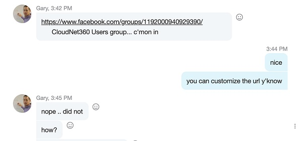 Example of Skype instant message with Gary of CloudNet360 sending announcement of new Facebook group.