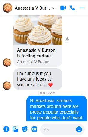 Image of a Facebook Messenger conversation where Anastasia Button asked me a marketing question.