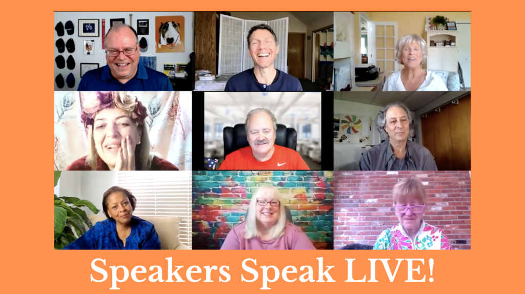 Speakers Speak LIVE graphic showing one of the first episodes of virtual live professional speaking practice event