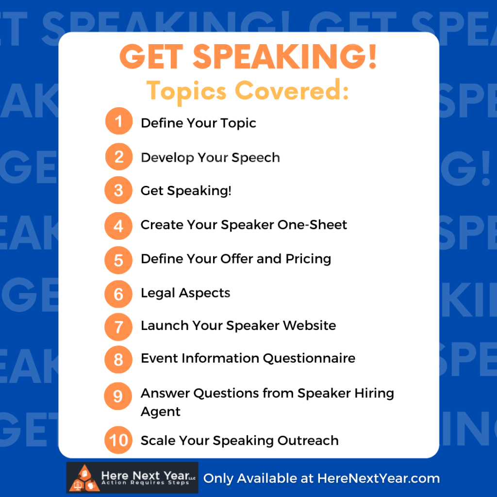 List of topics covered in the Get Speaking checklist document
