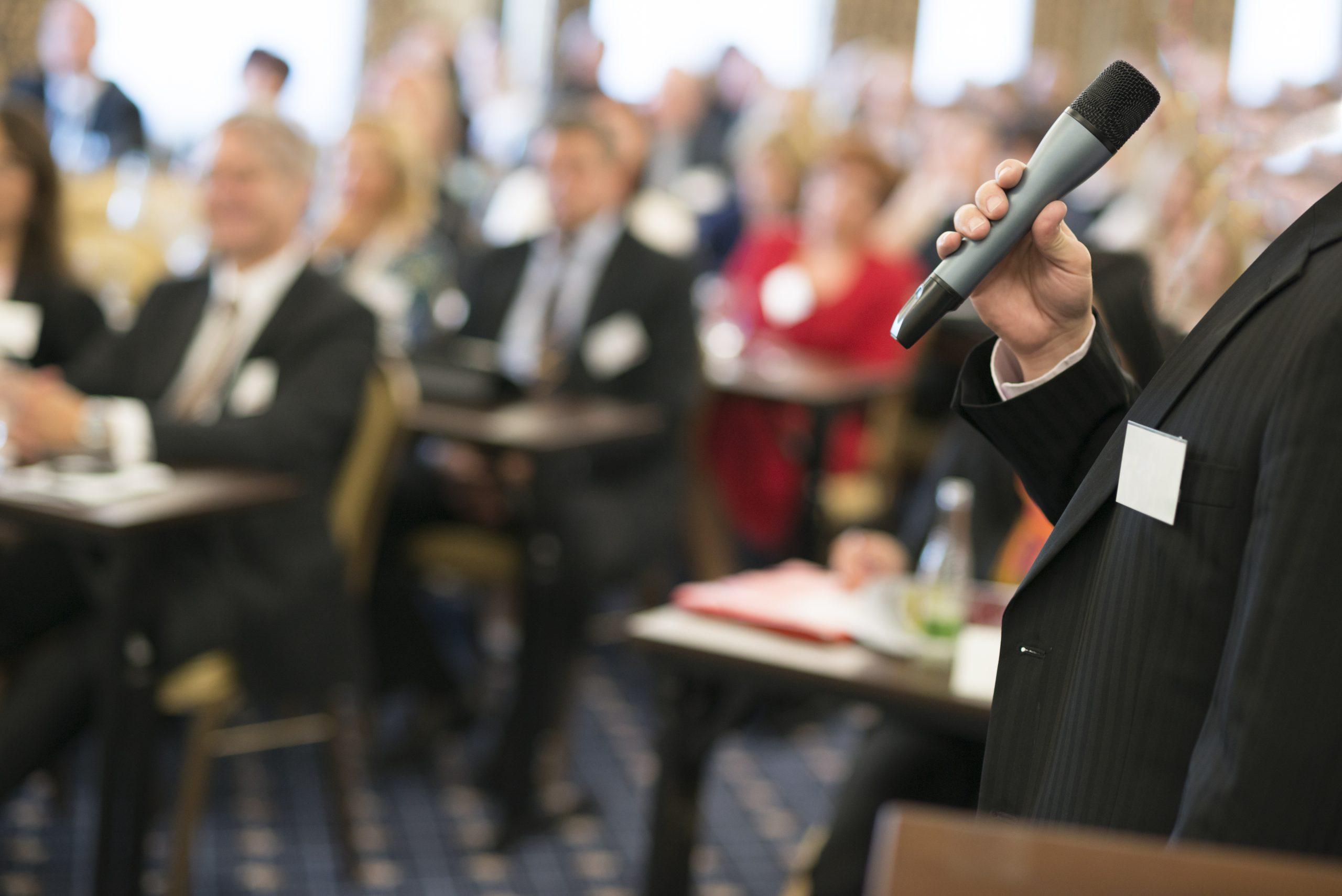 Association speaker speaking to audience